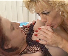 Mature lesbians sucking tits