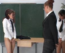 School girl stripped naked in the classroom.